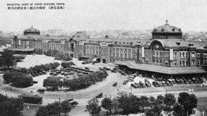 Tokyo Station in 1914 – This glamorous hotel is anything but an ordinary train stop. Together with the station, it's been a Tokyo landmark for a century. This picture was taken in 1914, the year the station opened.